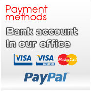 Methods of payment: by bank transfer, in our offices or via Paypal
